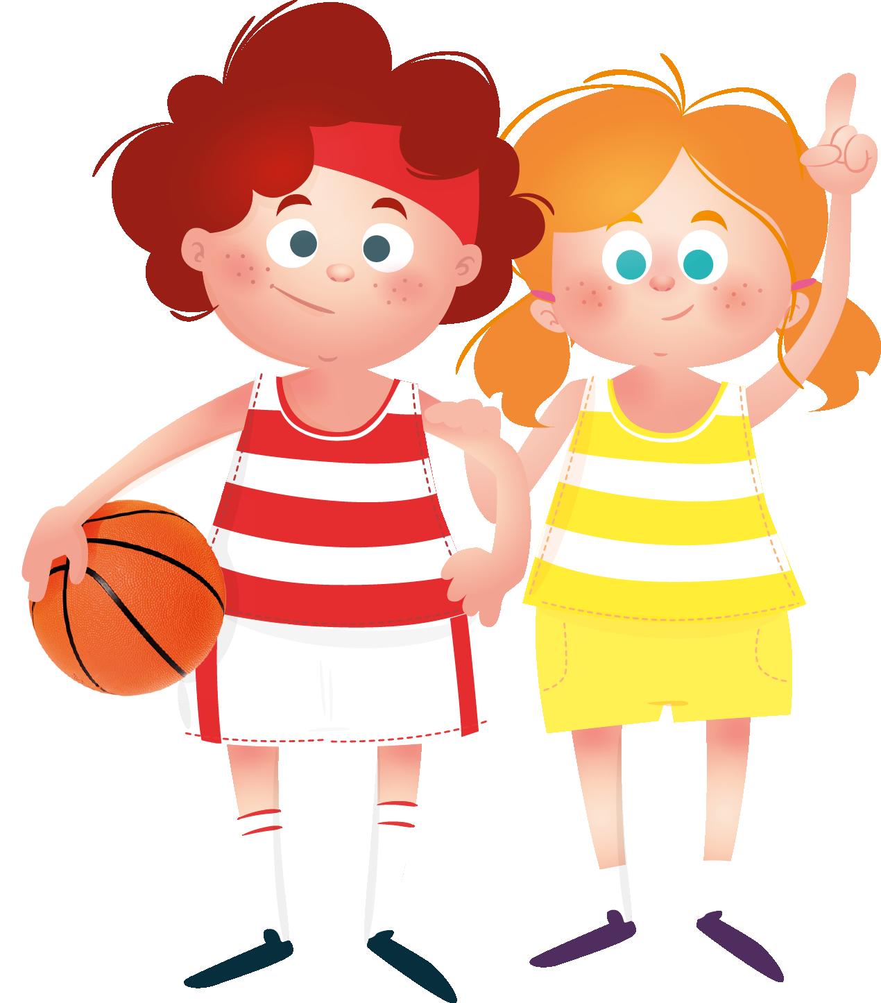 tekening van jongen en meisje met sportkleding met bal