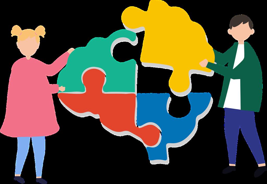 Illustratie jongen en meisje met puzzelstukjes