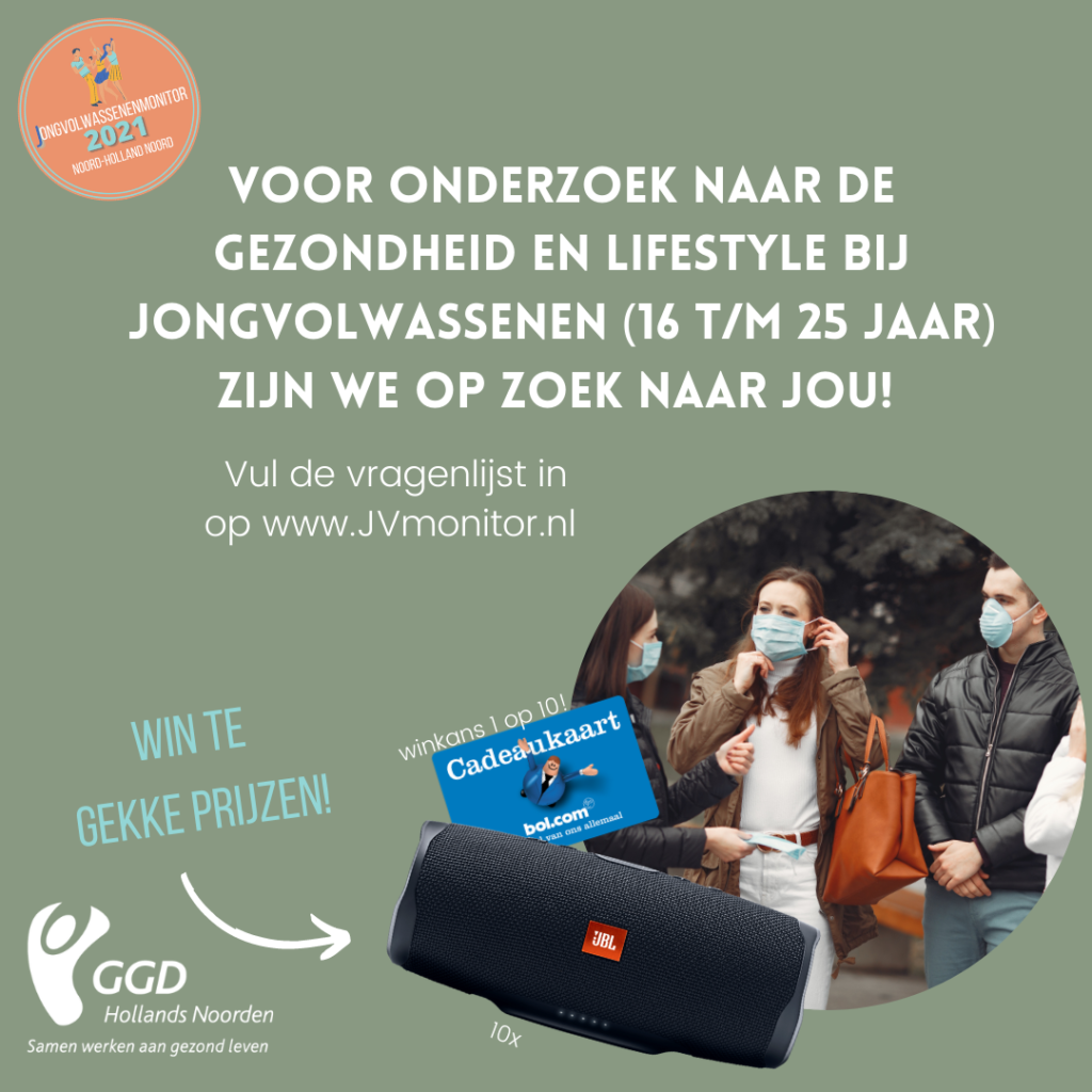 Pdf met GGD logo en foto van jongeren voor oproep voor onderzoek naar gezondheid en lifestyle 16-25 jarigen