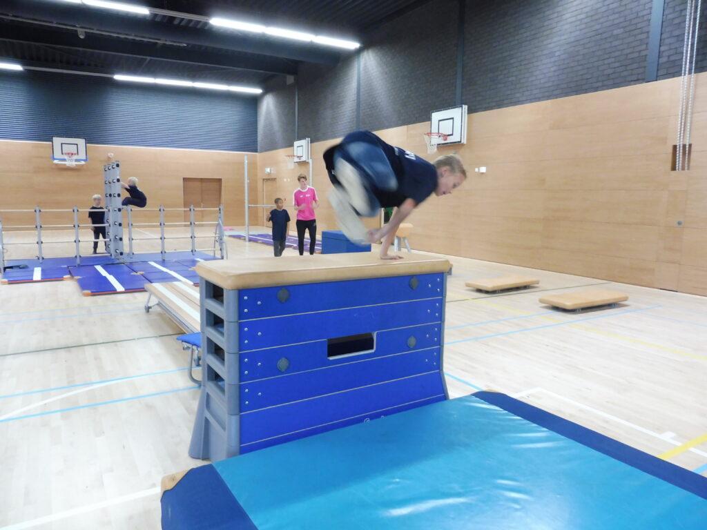 Kinderen sporten in sportzaal