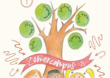 Illustratie van boompje met tekest Zomercampus 2021