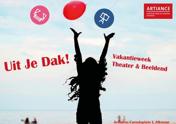 Affiche met silhouet van meisje met armen in de lucht met tekst Uit je Dak vakantieweek