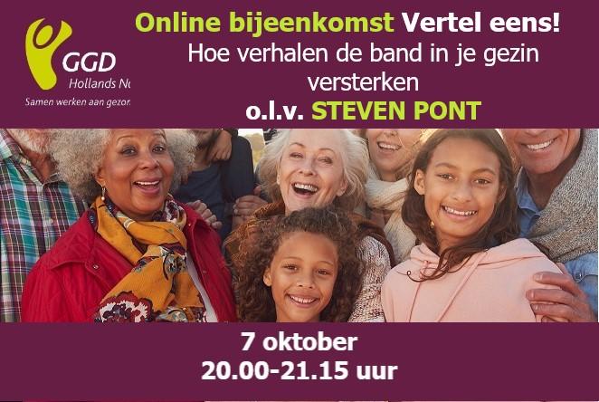 Flyer online bijeenkomst 7 oktober met foto van volwassenen en kinderen