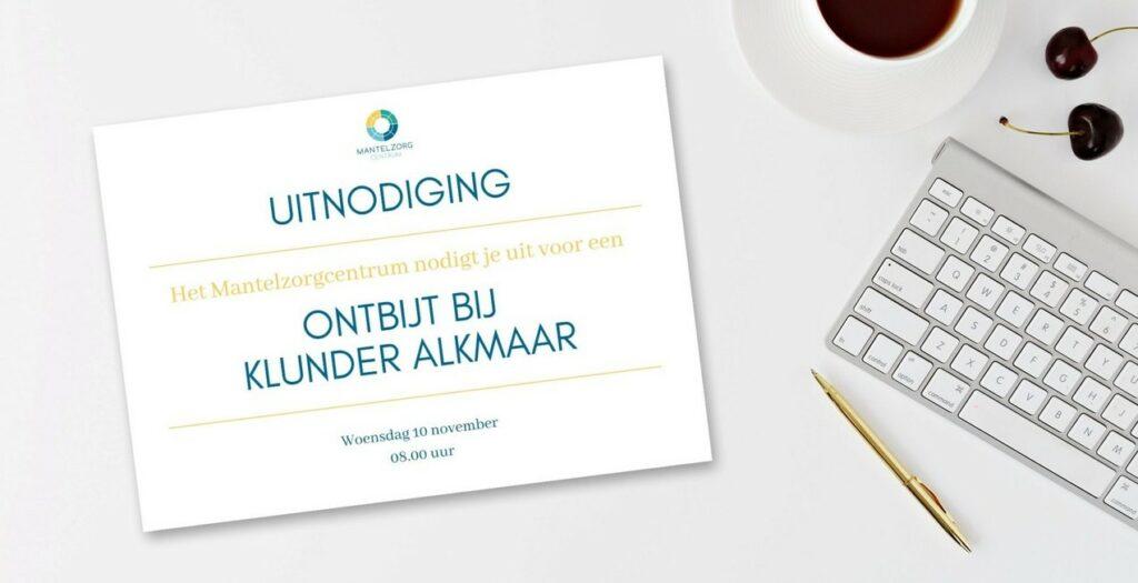 Uitnodigingskaartje ontbijt voor mantelzorgers bij Klunder Alkmaar